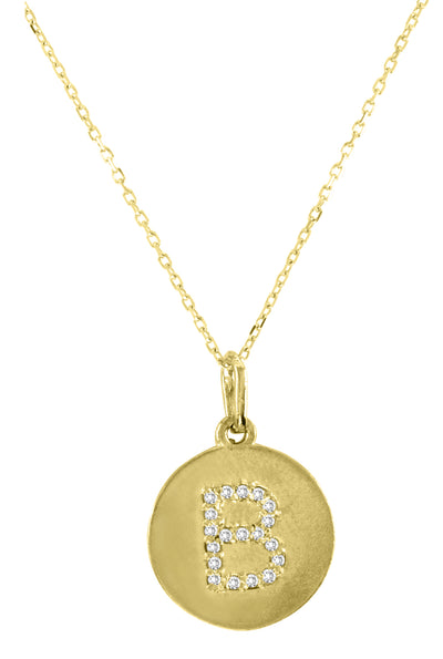 Disc Diamond Initial Necklace