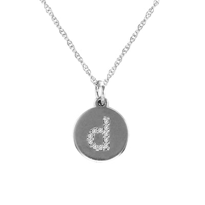 Baby Disc Diamond Initial Necklace