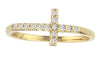 Gold Diamond Cross Ring