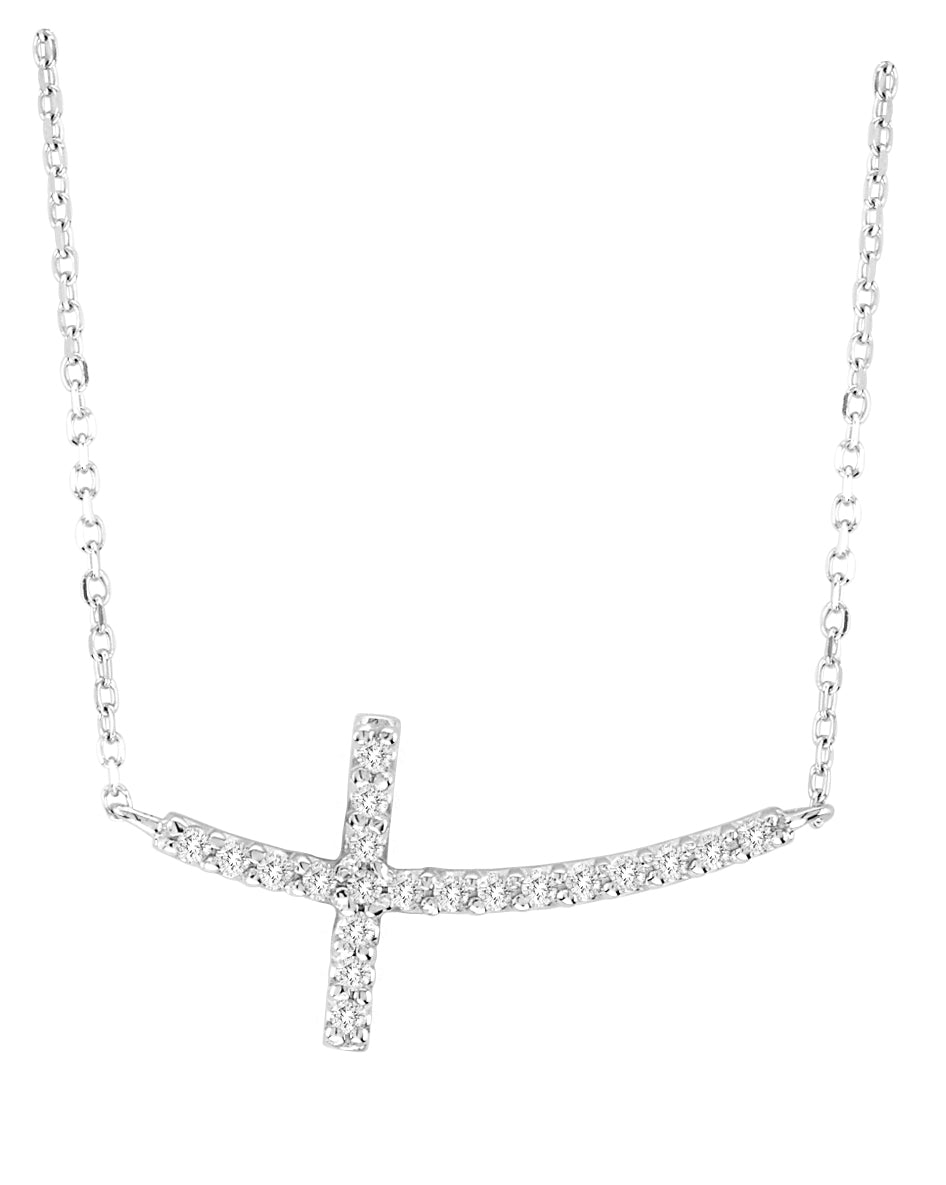 Sideways Diamond Cross Necklace