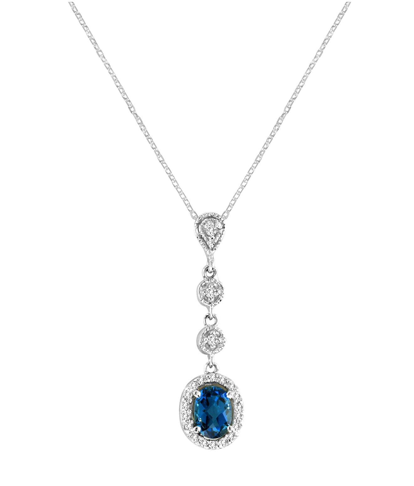 London Blue Topaz and Diamond Necklace