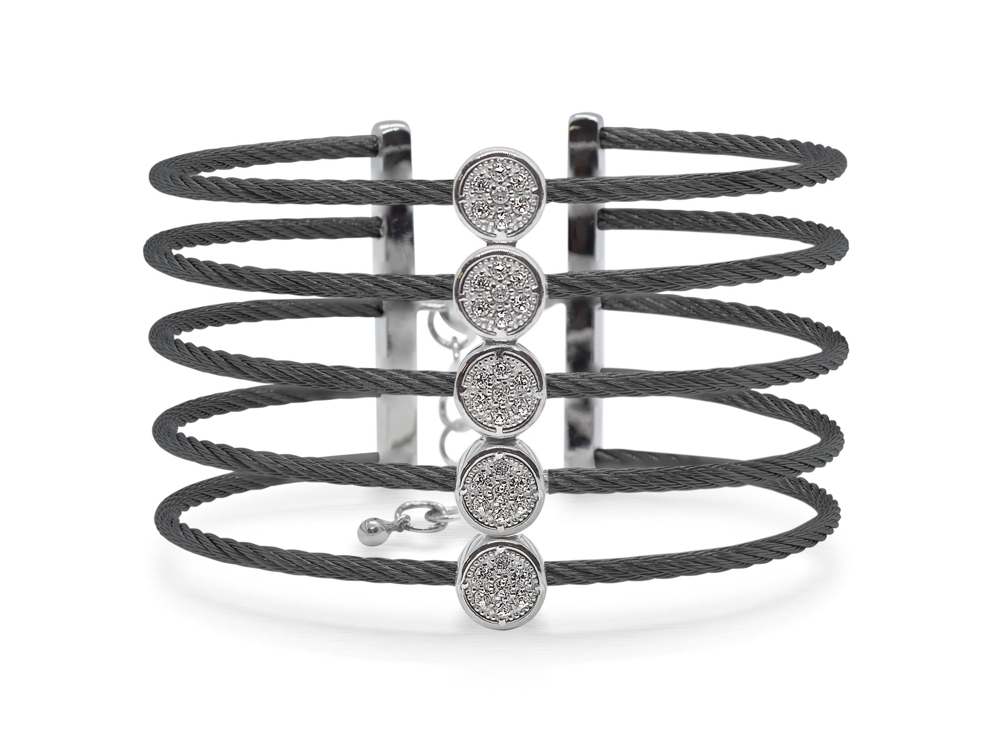 ALOR Burano Multi-Strand Black Cable Bangle with Separated Stations in Diamond