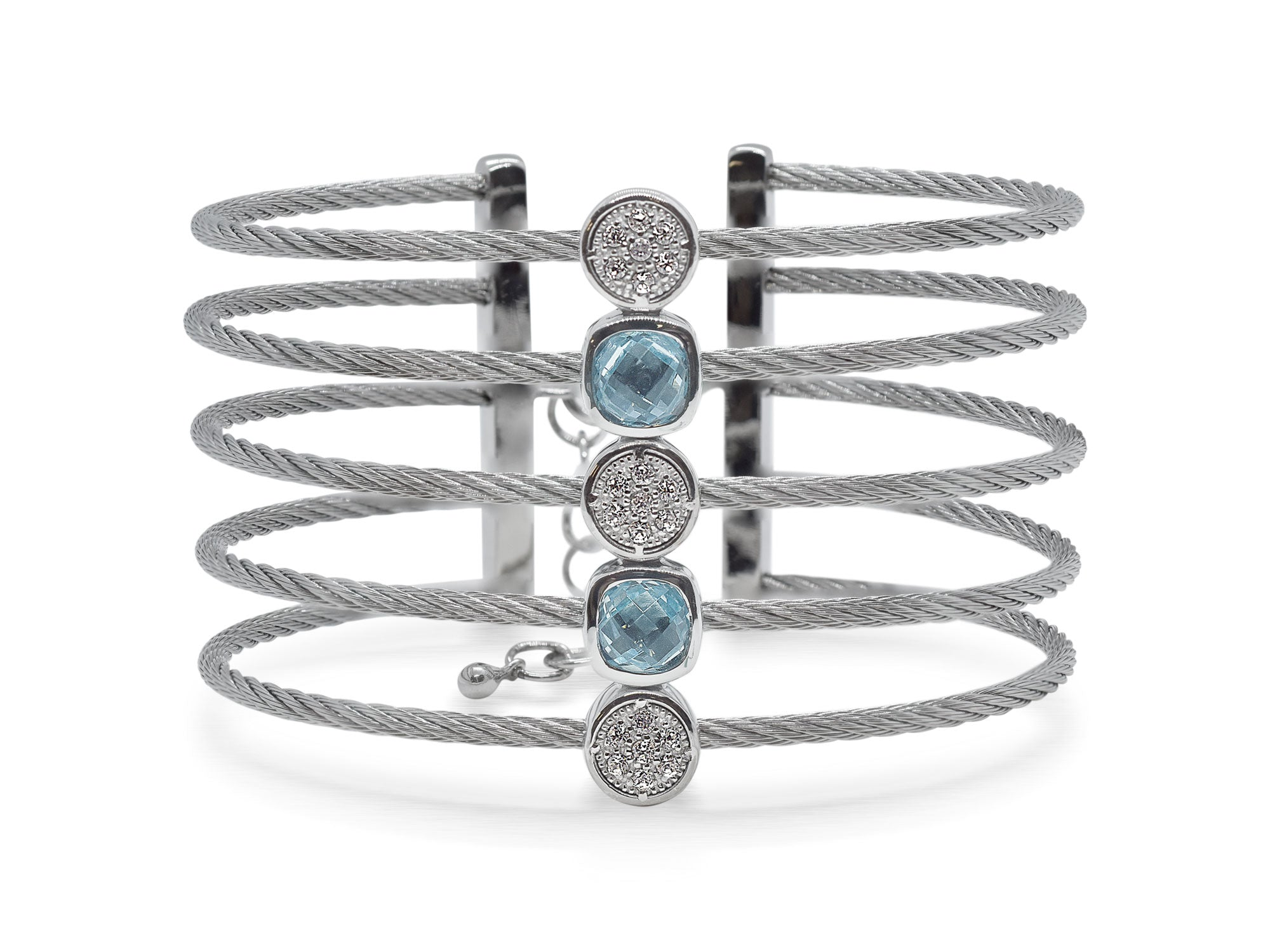 ALOR Burano Multi-Strand Silver Cable Bangle with Separated Stations in Diamond and Light Blue Onyx