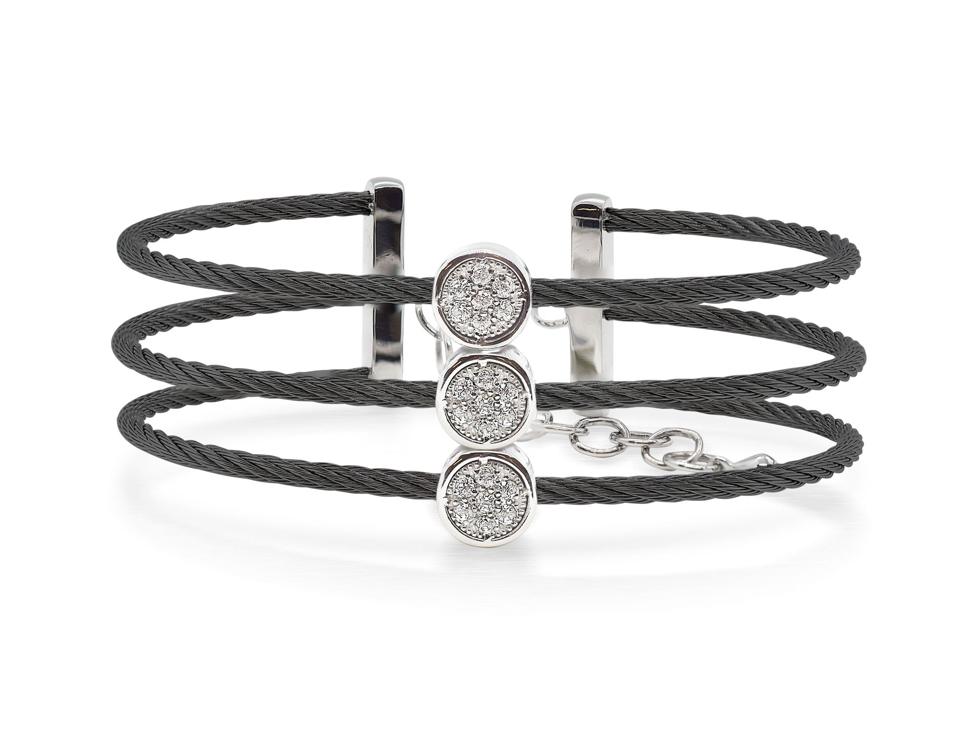 ALOR Burano Triple-Strand Black Cable Bangle with Separated Stations in Diamond