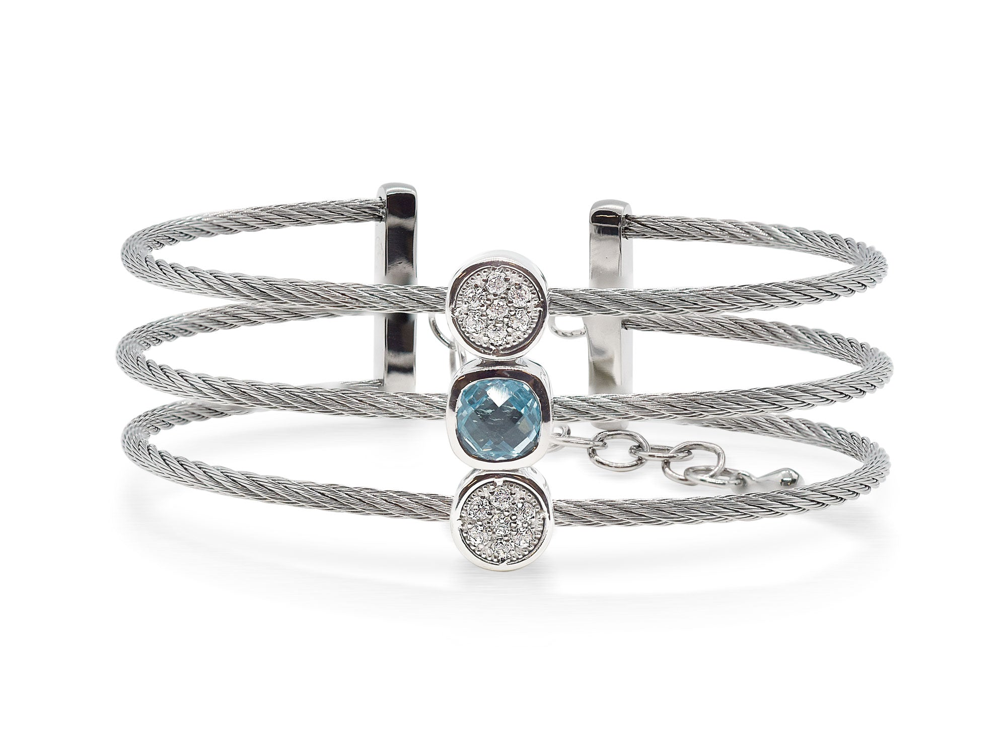 ALOR Burano Triple-Strand Grey Cable Bangle with Separated Stations in Diamond and Light Blue Topaz