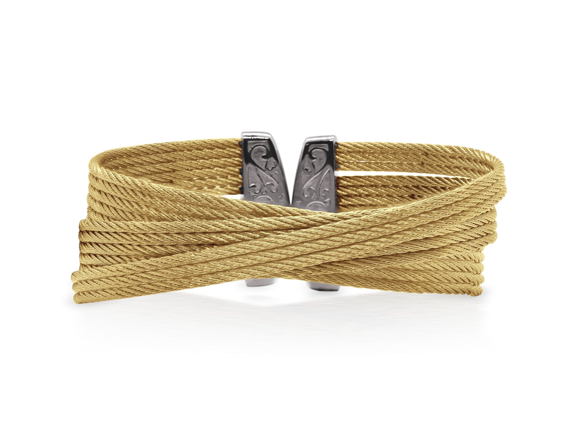 ALOR Classique Multi-Strand, Gold Cable Bangle with Angled Design