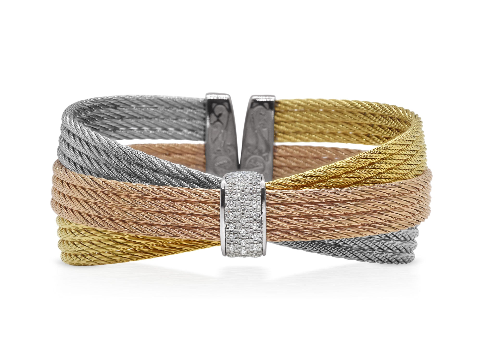 ALOR Classique Multi-Strand, Gold, Rose, and Grey Cable Bangle with Angled Design