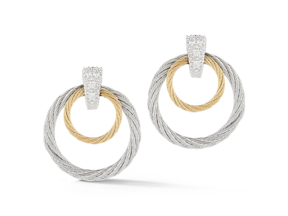 ALOR Classique Yellow and Grey Cable Double Hoop Earrings with White Gold and Diamonds