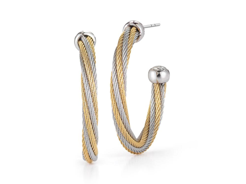 ALOR Classique Yellow and Silver Twisted Cable Cuff Earrings