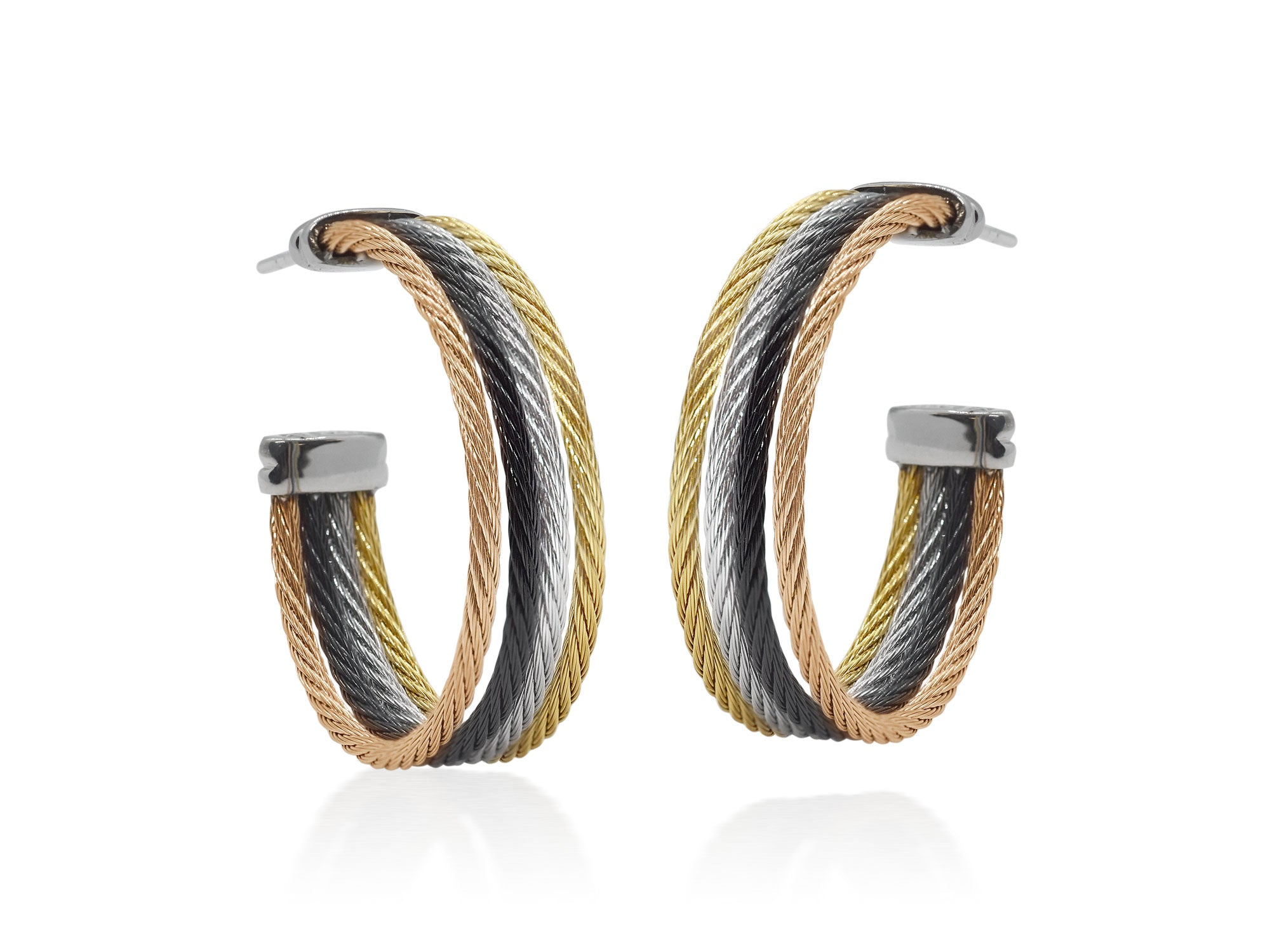 ALOR Classique Rose, Gold, Black, and Grey Cable Cuff Earrings
