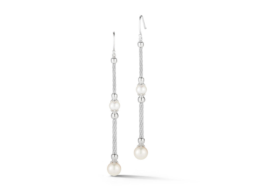 ALOR Dangle Earrings with Grey Cable and Pearl Stations