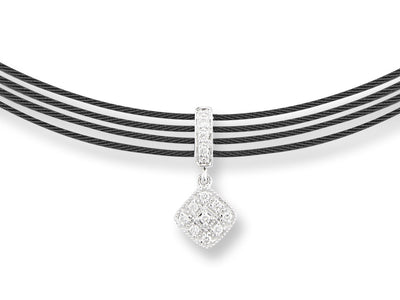 ALOR Noir Twisted Black Cable Open Strand Necklace with Single Centered Diamond Pendant