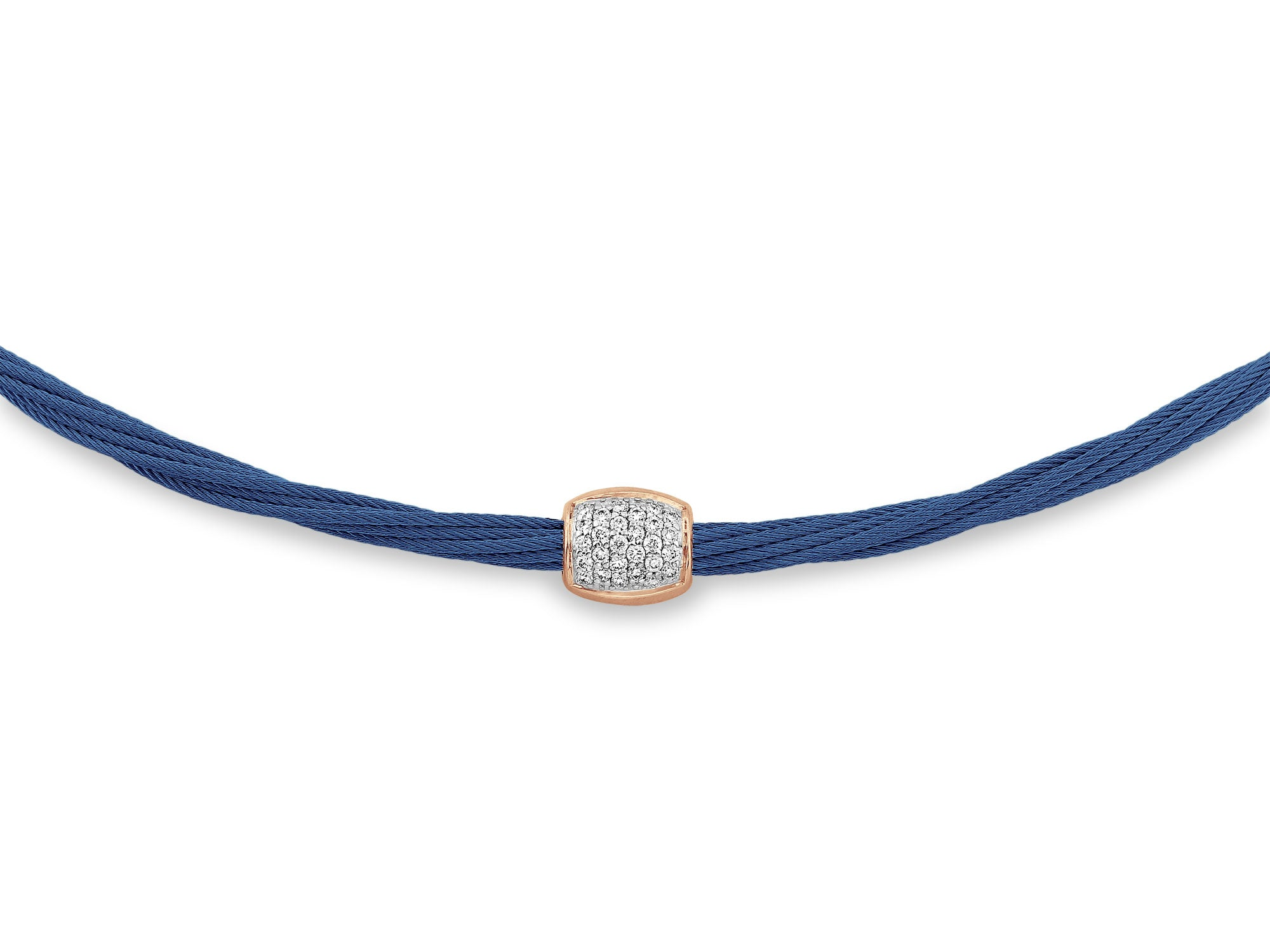 ALOR Classique Women's Multi-Cable Blue Necklace with Center Diamond Station and Gold Accents