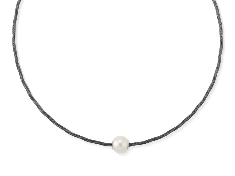 ALOR Noir Black Cable Twisted Necklace with Fresh Water Pearl
