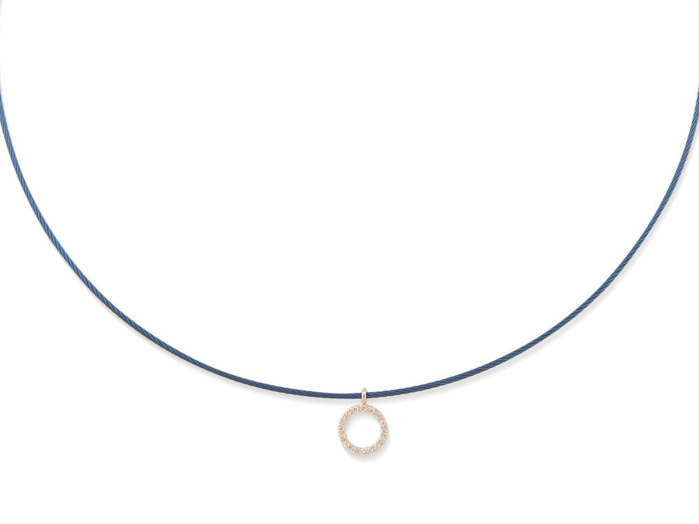 ALOR Fresh Finds Single Blueberry Cable Necklace with Rose Gold and Diamond Circle Station