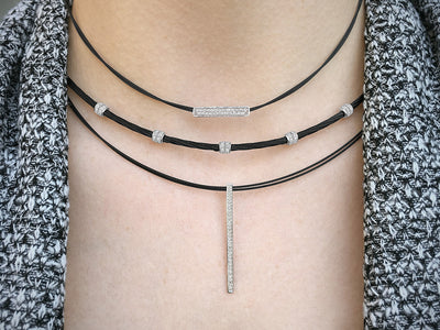ALOR Noir Single Strand Twisted Black Cable Necklace with Dangling White God Diamond Station