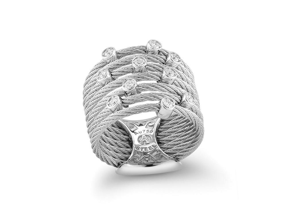 ALOR Classique Multi-Cable Grey Ring with Individual Diamond Stations