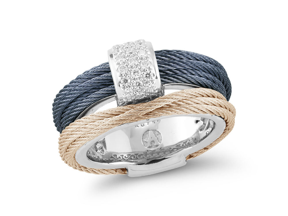 ALOR Fresh Finds Carnation and Blueberry Cable Wrap Ring