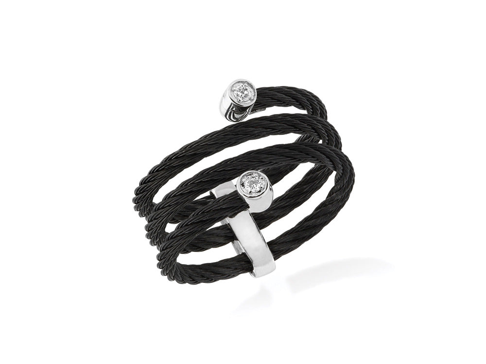 ALOR Noir Black Cable Wrap Ring with Diamond Station Ends