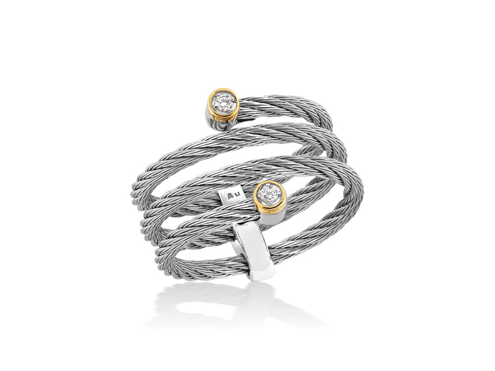 ALOR Classique Coiled Grey Cable Ring with Diamond Station Ends