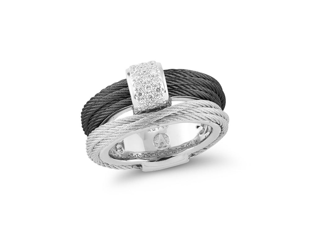 ALOR Noir Black and Steel Grey Wrap Ring with Top Diamond Accent
