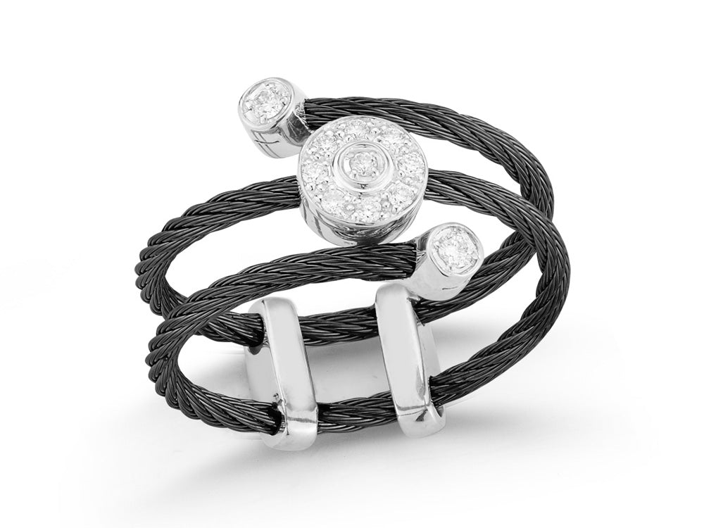 ALOR Noir Black Twisted Cable Ring with Diamond Separators