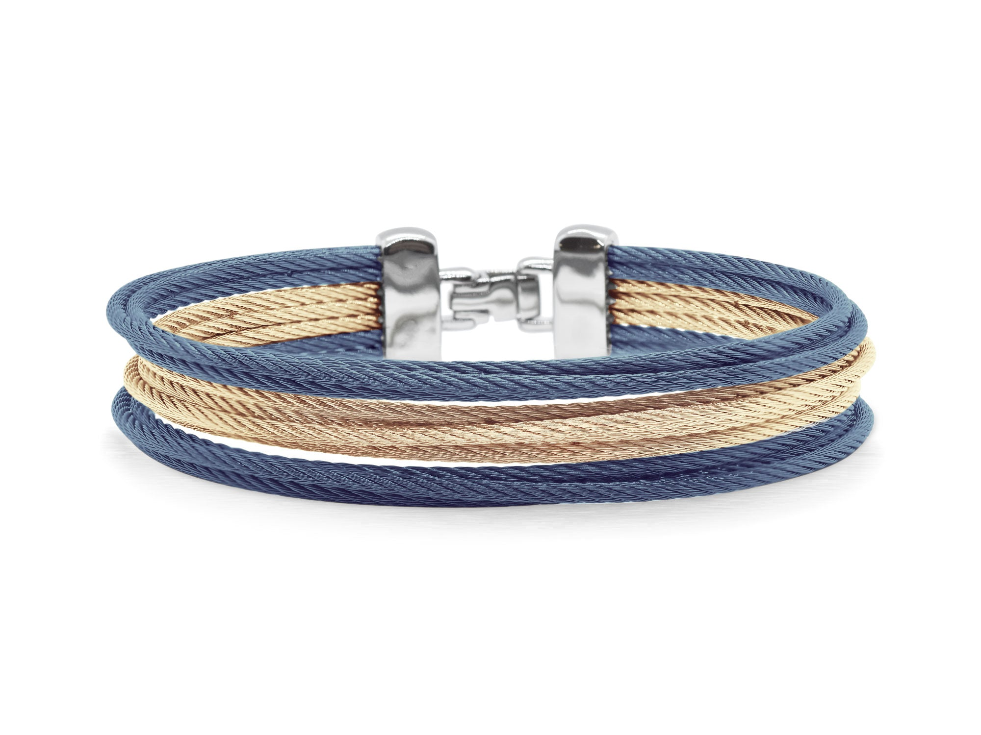 ALOR Classique Women's Multi-Strand Stacked Blue and Gold Alternating Cable Bangle