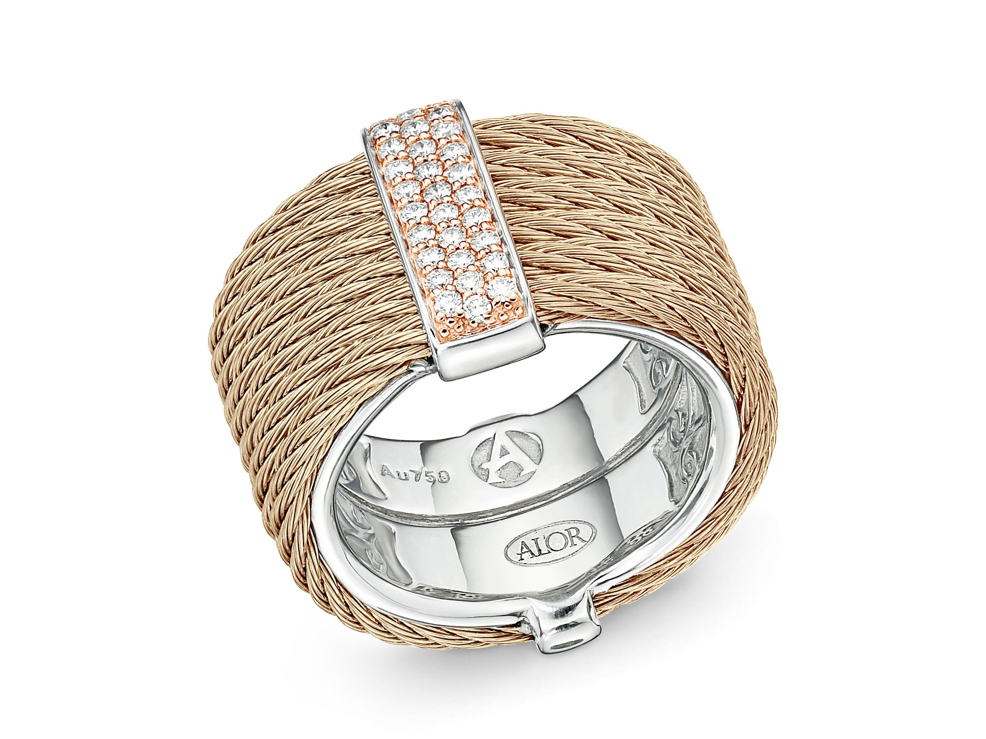 ALOR New Designs Stacked Gold Multi-Cable Ring with Center Diamond Bar Station