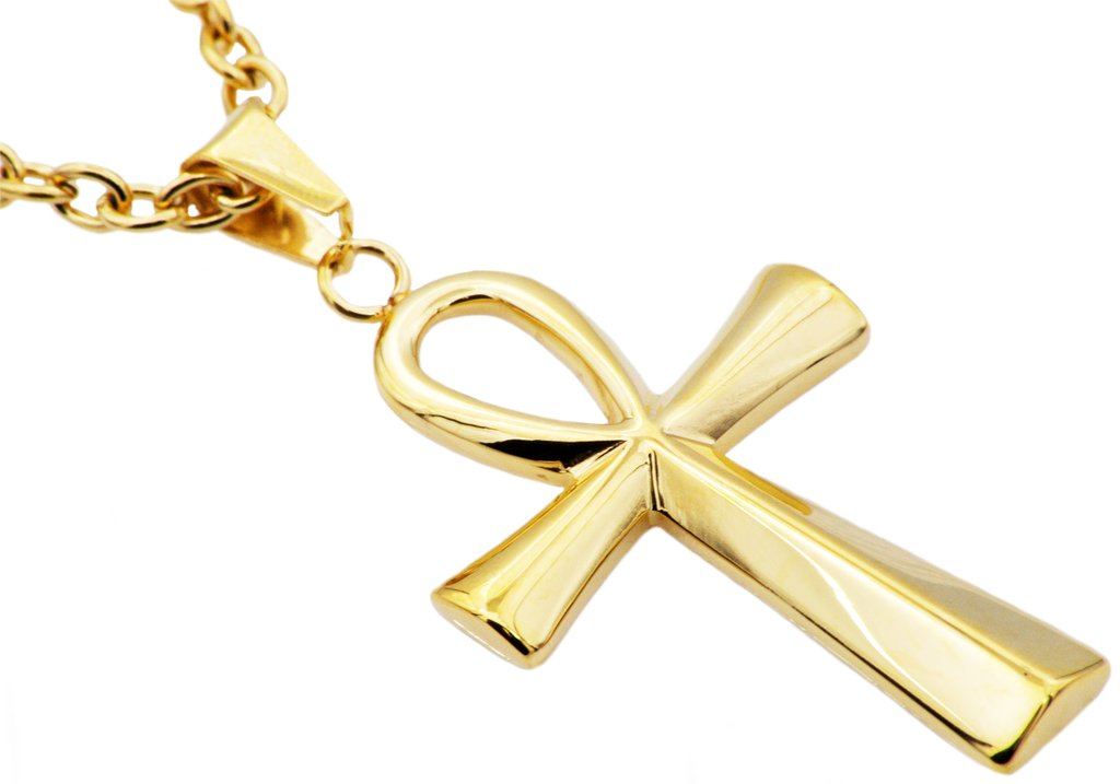 Mens Gold Plated Stainless Steel Ankh Cross Pendant