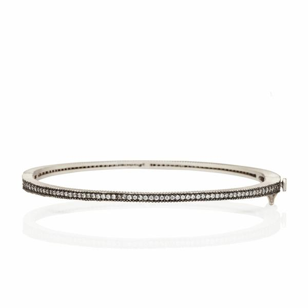 Freida Rothman Signature Thin Pavé Hinge Bangle