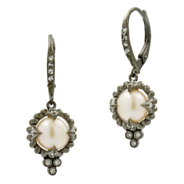 Freida Rothman Industrial Finish Single Pearl Drop Earrings