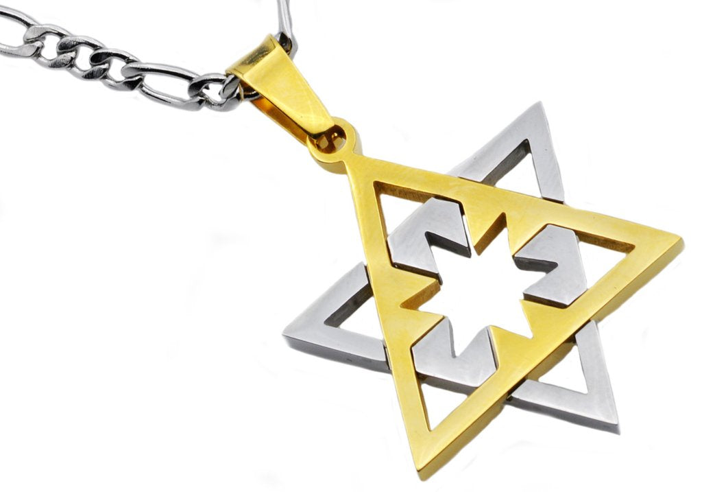 Mens Gold Plated Stainless Steel Star Of David Pendant