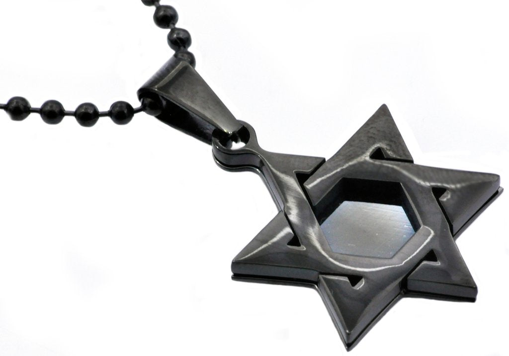 Mens Black Plated Stainless Steel Star Of David Pendant