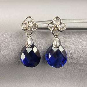 Diamond and sapphire drop earrings in white gold