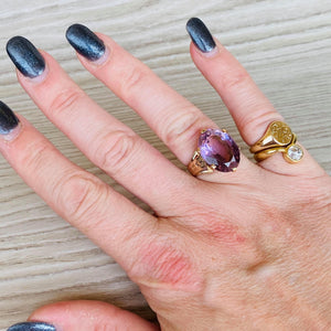 14k yellow gold large amethyst ring