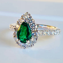 Load image into Gallery viewer, Emerald and diamond ring in platinum