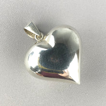 Load image into Gallery viewer, Vintage puffed sterling silver heart pendant