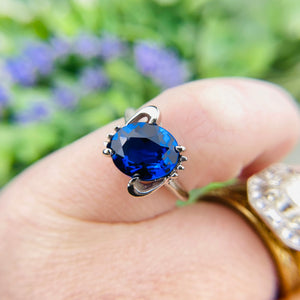 Royal blue spinel ring in white gold