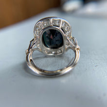 Load image into Gallery viewer, No heat sapphire and diamond ring in platinum