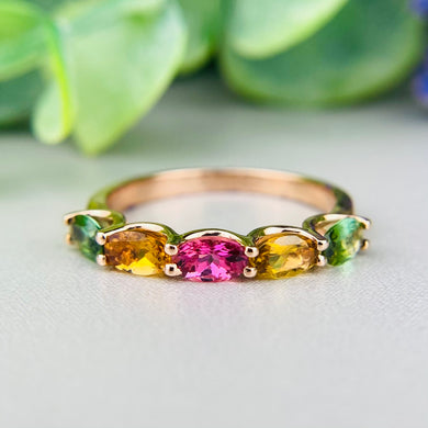 Shades of tourmaline ring band by Effy in 14k rose gold