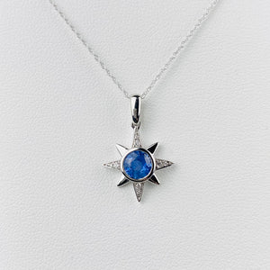 Cornflower blue Sapphire and diamond compass star necklace
