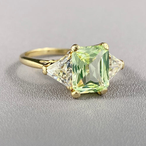 Green spinel and CZ ring in yellow gold