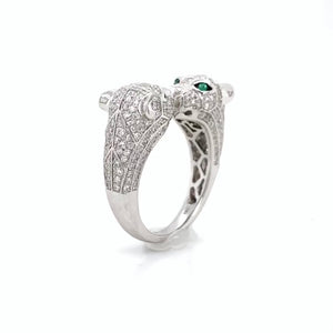Double panther cat diamond and emerald ring in 14k white gold by Effy