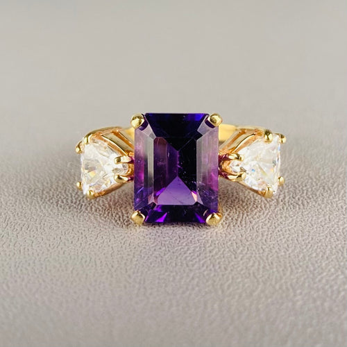 Amethyst and quartz ring in 14k yellow gold
