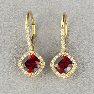 Garnet and diamond drops in yellow gold