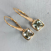 Load image into Gallery viewer, Prasiolite and diamond earrings in 14k