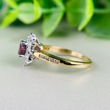 Load image into Gallery viewer, Rhodolite garnet and diamond ring in 14k yellow gold