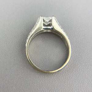 Radiant cut diamond ring in white gold
