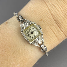 Load image into Gallery viewer, Platinum and 14k antique diamond watch