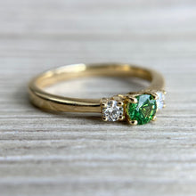Load image into Gallery viewer, Tsavorite and diamond 3 stone ring in 14k